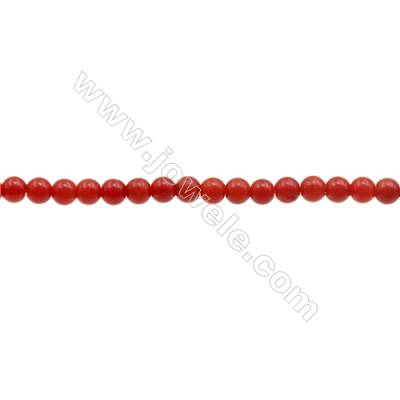 3mm Red Coral Beads Strand  Round  hole 0.7mm  about 133 beads/strand  15~16""
