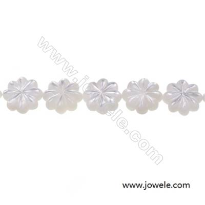 White mother-of-pearl shell  flower model strand beads, Diameter 12 mm, Hole 0.7 mm, 34 beads / strand