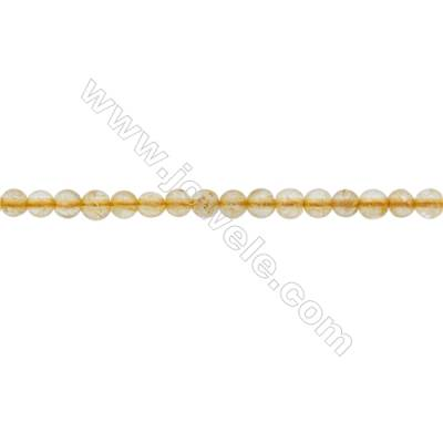 4mm Natural Rutilated Quartz Beads Strand  Round  hole 0.7mm  about 112 beads/strand  15~16""