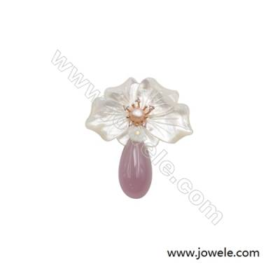 54x65mm Natural Mother-of-pearl Shell Flower Brooch x 1piece  Pink Chalcedony (dyed)  Pearl Bead Pave