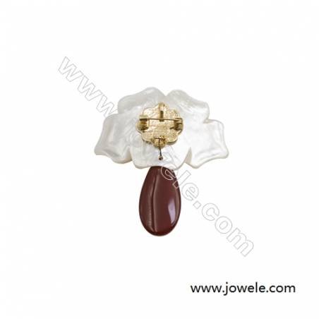 53x63mm Natural Mother-of-pearl Shell Flower Brooch x 1piece  Red Chalcedony (dyed)  Pearl Beads Pave