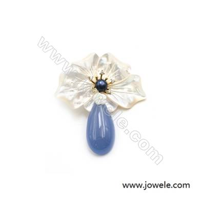 54x65mm Natural Mother-of-pearl Shell Flower Brooch x 1piece  Blue Chalcedony Pendant (dyed)  Blue Pearl Beads pave