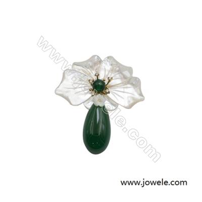 54x65mm Natural Mother-of-pearl Shell Flower Brooch x 1piece  Green Chalcedony (dyed)