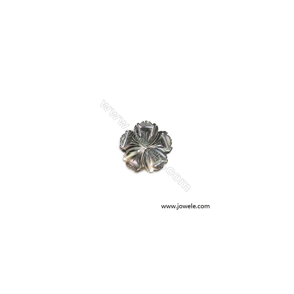28x28mm Natural Gray Mother-of-pearl Shell Pendant  Flower  Hole 0.8mm  10pcs/pack