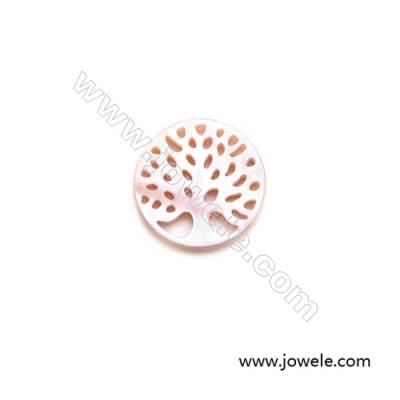 12mm Natural Pink Mother-of-pearl Shell Pendant Charm  Tree of Life  20 pcs/pack