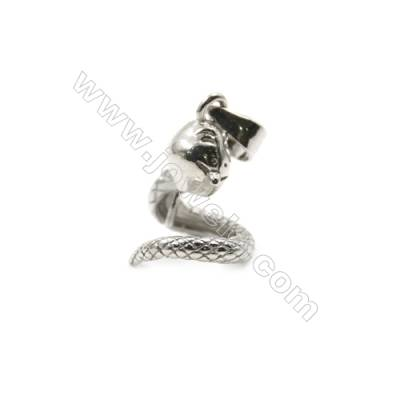 925 sterling silver platinum plated diamond jewerly pendant findings, 11x13mm, x 5pcs, pin 0.5mm