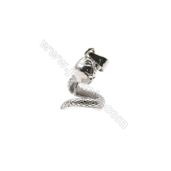 925 sterling silver platinum plated diamond jewerly pendant findings, 11x13mm, x 5pcs, pin 0.5mm