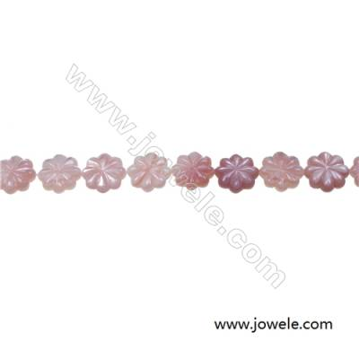 Pink flower mother-of-pearl shell strand beads, Diameter 10mm, Hole 0.7 mm, 40 beads/strand