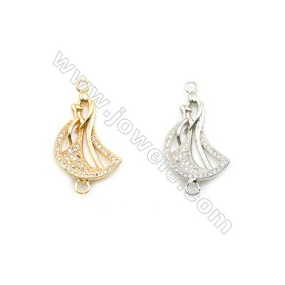 17x22mm Gold (White gold) Plated Brass Connectors, Cubic Zirconia Micropave, Hole 2mm, 20pcs/pack