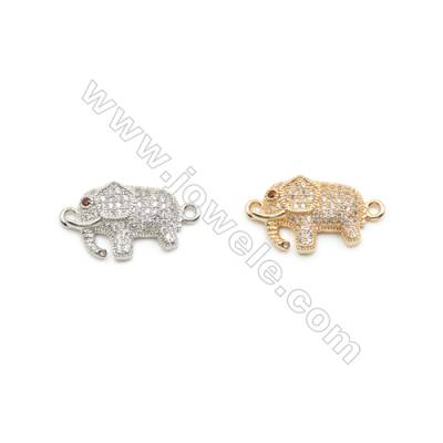 12x18mm Gold (White gold) Plated Brass Connectors, Cubic Zirconia Micropave, Elephant, Hole 1.5mm, 20pcs/pack