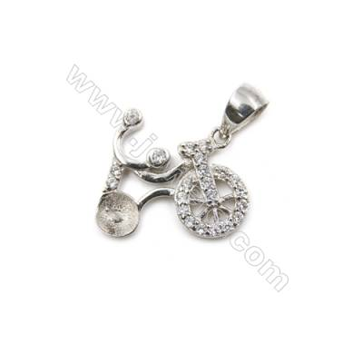 925 Sterling silver platinum plated zircon pendant, 13x16mm, x 5 pcs, tray 4mm, pin 0.4mm