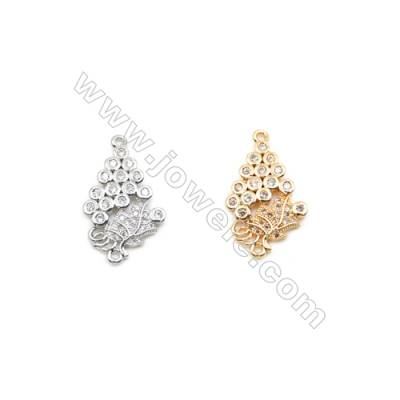 14x18mm Gold (White gold) Plated Brass Connectors, Cubic Zirconia Micropave, Hole 1mm, 20pcs/pack