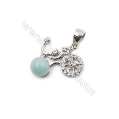 Wholesale sterling silver platinum plated zircon pendant-D5833 13x16mm x 5 pcs dic diameter  4mm small pin diameter 0.4mm
