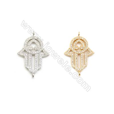 19x23mm Gold (White gold) Plated Brass Connectors, Cubic Zirconia Micropave, Hand, Hole 1.5mm, 20pcs/pack