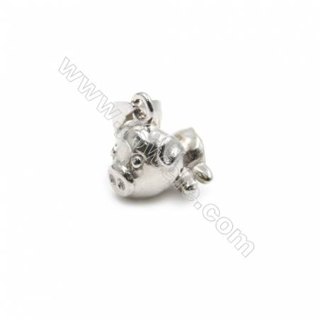 925 sterling silver platinum plated pendant, 6x9mm, x 10pcs, pin 0.5mm