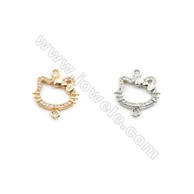 12x17mm Gold (White gold) Plated Brass Connectors, Cubic Zirconia Micropave, Kitty, Hole 1.5mm, 30pcs/pack