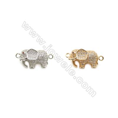 11x18mm Gold (White gold) Plated Brass Connectors, Cubic Zirconia Micropave, Elephant, Hole 1.5mm, 20pcs/pack