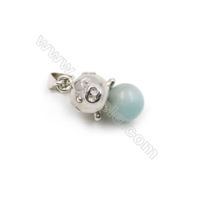 925 sterling silver platinum plated pendant -D5813 6x9mm x 10pcs pin diameter 0.5mm