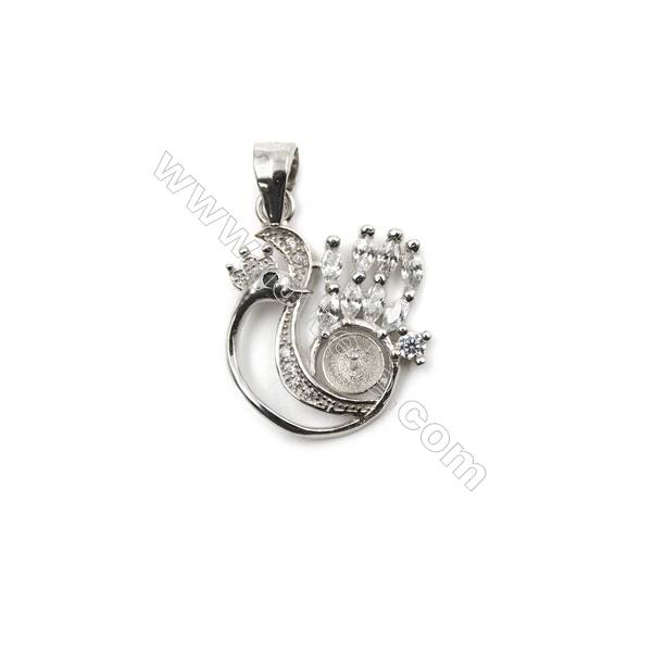 Genuine silver 925 platinum plated pendant findings, 16x17mm, x 5 pcs, tray 4mm, needle 0.4mm