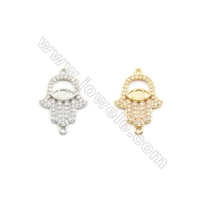 17x19mm Gold (White gold) Plated Brass Connectors, Cubic Zirconia Micropave, Hand, Hole 1.5mm, 20pcs/pack