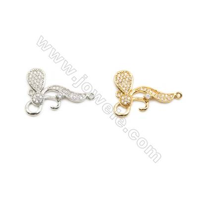17x24mm Gold (White gold) Plated Brass Connectors, Cubic Zirconia Micropave, Hole 1mm, 20pcs/pack