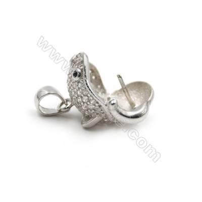 925 sterling silver platinum plated micro pave CZ pendants-D5832 14x15mm x 5 pcs disc diameter 8mm needle diameter 0.6mm