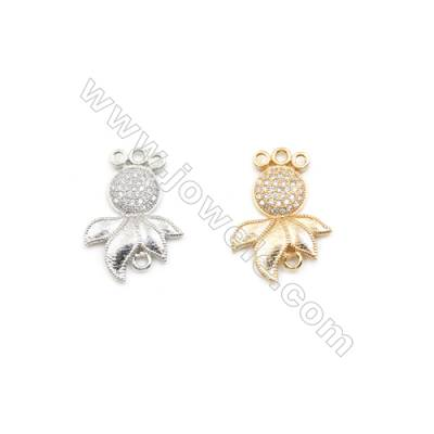 17x25mm Gold (White gold) Plated Brass Connectors, Cubic Zirconia Micropave, Fish, Hole 1.5mm, 20pcs/pack