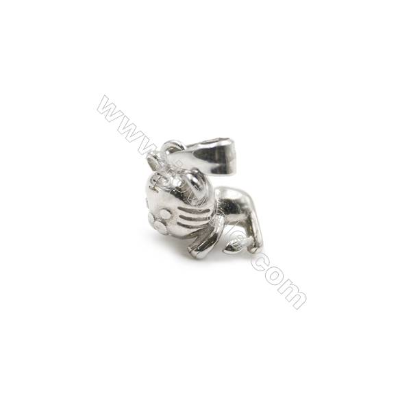 925 sterling silver platinum plated pendant accessories, 8x13mm, x 5pcs, pin 0.6mm