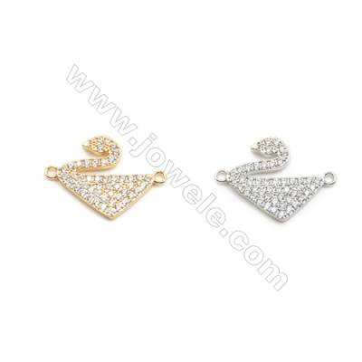 14x16mm Gold (White gold) Plated Brass Connectors, Cubic Zirconia Micropave, Swan, Hole 1.5mm, 20pcs/pack