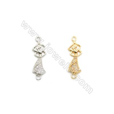 8x22mm Gold (White gold) Plated Brass Connectors, Cubic Zirconia Micropave, Ladies, Hole 2mm, 30pcs/pack
