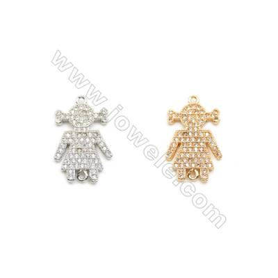 15x22mm Gold (White gold) Plated Brass Connectors, Cubic Zirconia Micropave, Girl, Hole 1mm, 20pcs/pack