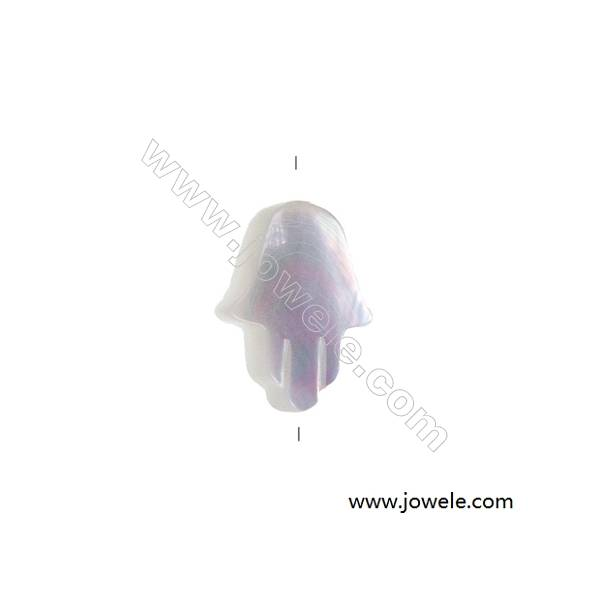 White mother-of-pearl shell palm-shaped strand beads 10x12 mm hole diameter 0.7 mm 30 beads/strand