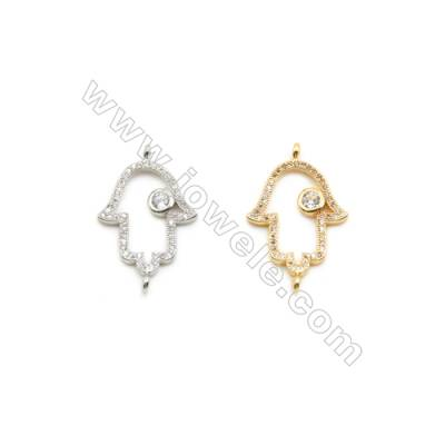 16x21mm Gold (White gold) Plated Brass Connectors, Cubic Zirconia Micropave, Hollow Hand, Hole 1mm, 20pcs/pack