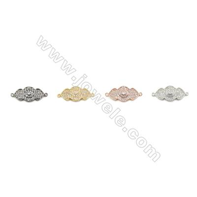 11x23mm Gold (White gold, Black, Rose Gold) Plated Brass Connectors, Cubic Zirconia Micropave, Eye, Hole 1.5mm, 20pcs/pack