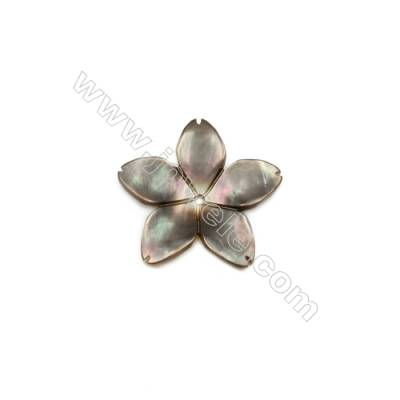 Five-leaf flower shell gray mother-of-pearl, 14 mm, holes 0.8mm, 20pcs/pack