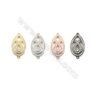 13x22mm Gold (White gold, Black, Rose Gold) Plated Brass Connectors, Cubic Zirconia Micropave, Teardrop, Hole 1mm, 20pcs/pack