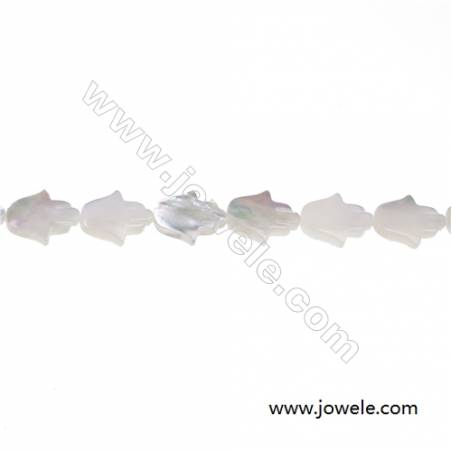 White mother-of-pearl shell palm-shaped strand beads 8х10mm hole diameter 0.7 mm 40 beads/strand