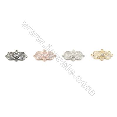 13x22mm Gold (White gold, Black, Rose Gold) Plated Brass Connectors, Cubic Zirconia Micropave, Tie, Hole 1mm, 20pcs/pack