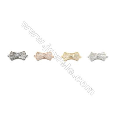 12x22mm Gold (White gold, Black, Rose Gold) Plated Brass Connectors, Cubic Zirconia Micropave, Tie, Hole 1mm, 10pcs/pack