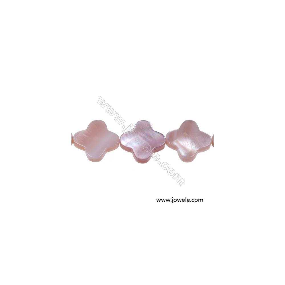 Pink mother-of-pearl shell four-leaf flower strand beads, 14mm, hole 0.7mm, 29 beads/strand