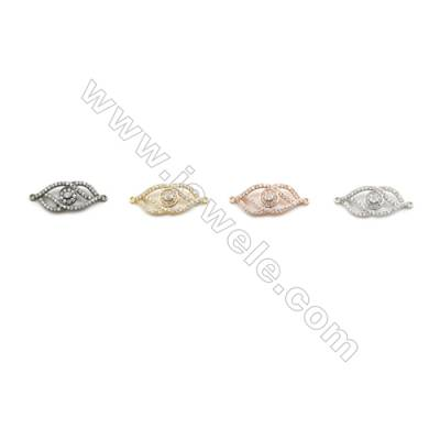 10x22mm Gold (White gold, Black, Rose Gold) Plated Brass Connectors, Cubic Zirconia Micropave, Arrow, Hole 1mm, 20pcs/pack