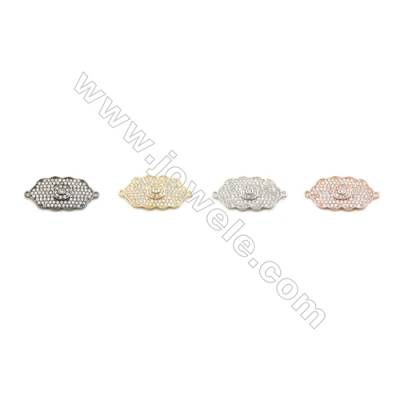 13x23mm Gold (White gold, Black, Rose Gold) Plated Brass Connectors, Cubic Zirconia Micropave, Cloud, Hole 1mm, 10pcs/pack