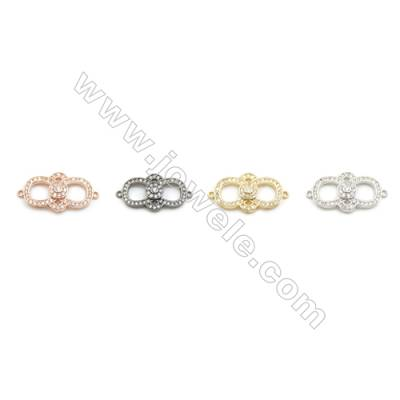 6x15mm Gold (White gold, Black, Rose Gold) Plated Brass Connectors, Cubic Zirconia Micropave, Hole 1mm, 20pcs/pack