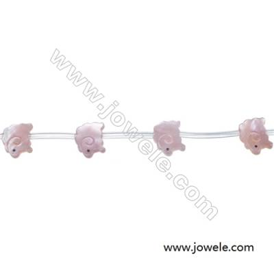 Pink mother-of-pearl shell small sheep beads 11x14mm hole diameter 0.7mm  15 beads / strand
