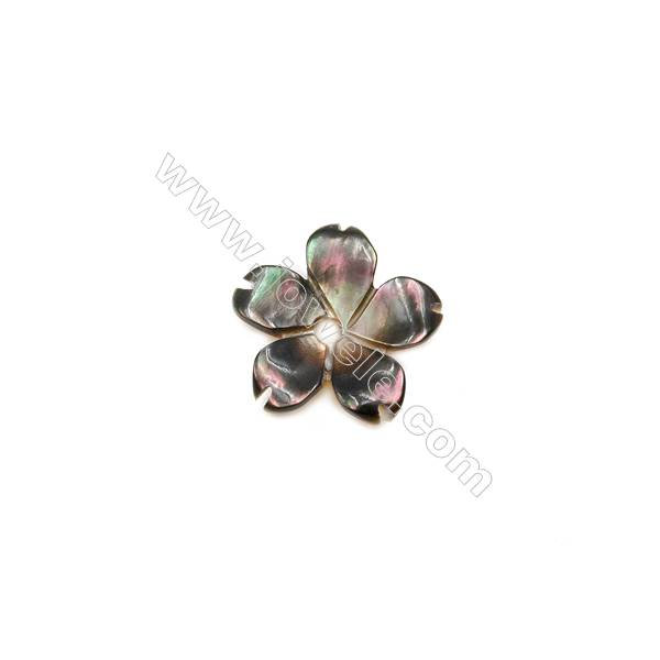 Gray Mother-of-pearl Shell, Five-leaf Clover, 8mm, Hole 0.8mm, 40pcs/pack