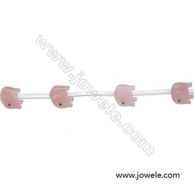 Little elephant designed pink mother-of-pearl shell beads 9x11mm hole diameter 0.7mm 15 beads / strand