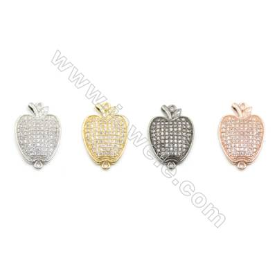 13x15mm Gold (White gold, Black, Rose Gold) Plated Brass Connectors, Cubic Zirconia Micropave, Apple, Hole 1mm, 20pcs/pack