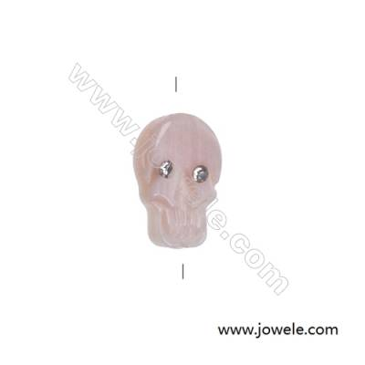 Pink mother-of-pearl skull strand beads, 8x12mm, hole 0.7mm, 15 beads/strand