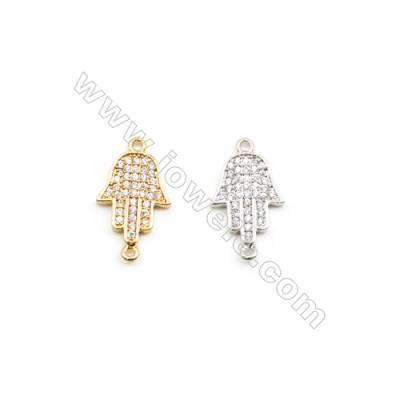 11x14mm Gold (White gold) Plated Brass Connectors, Cubic Zirconia Micropave, Hand, Hole 1mm, 30pcs/pack