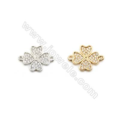 12x12mm Gold (White gold) Plated Brass Connectors, Cubic Zirconia Micropave, Heart, Hole 1mm, 20pcs/pack